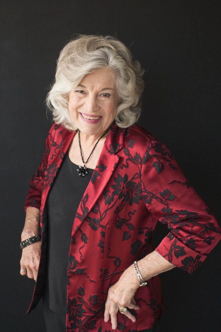 Elegant 86 year old woman in black and ref floral blazer celebrates beauty with glamor photos Gainesville Florida Womens Portraiture