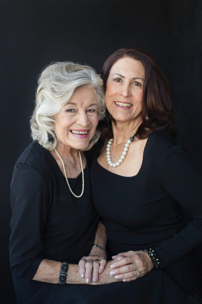 Mother Daughter celebrate beauty with glamor photos black dresses pearls Gainesville Florida Womens Portraiture