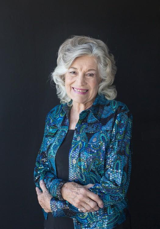 Elegant 86 year old woman in black and aqua glitter blazer celebrates beauty with glamor photos Gainesville Florida Womens Portraiture