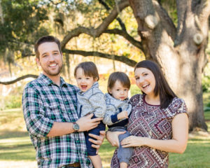 Family Portrait with One Year Old Twin Boys taken in Gainesville,Florida