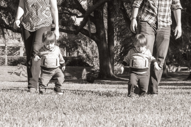 Walking One Year Old Twin Family Pictures taken in Gainesville,Florida