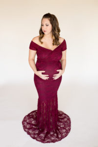 April in Lace Burgundy Maternity Gown Glancing down Gainesville Florida