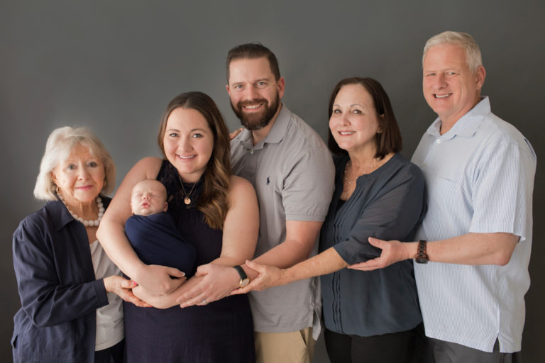 Three generations support Newborn James with Baby Photos in Gainesville Florida