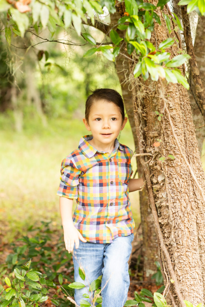 Three Year Old Boy leaning against tree fall photos at Horseshoe Farm Alachua Florida