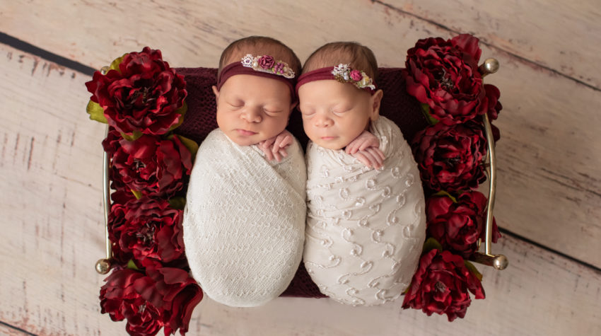 Newborn twin girls photos swaddled in delicate cream wrap and floral head tie lying on a Christmas brass bed surrounded by burgundy peonies to their left and right on white washed wood floor