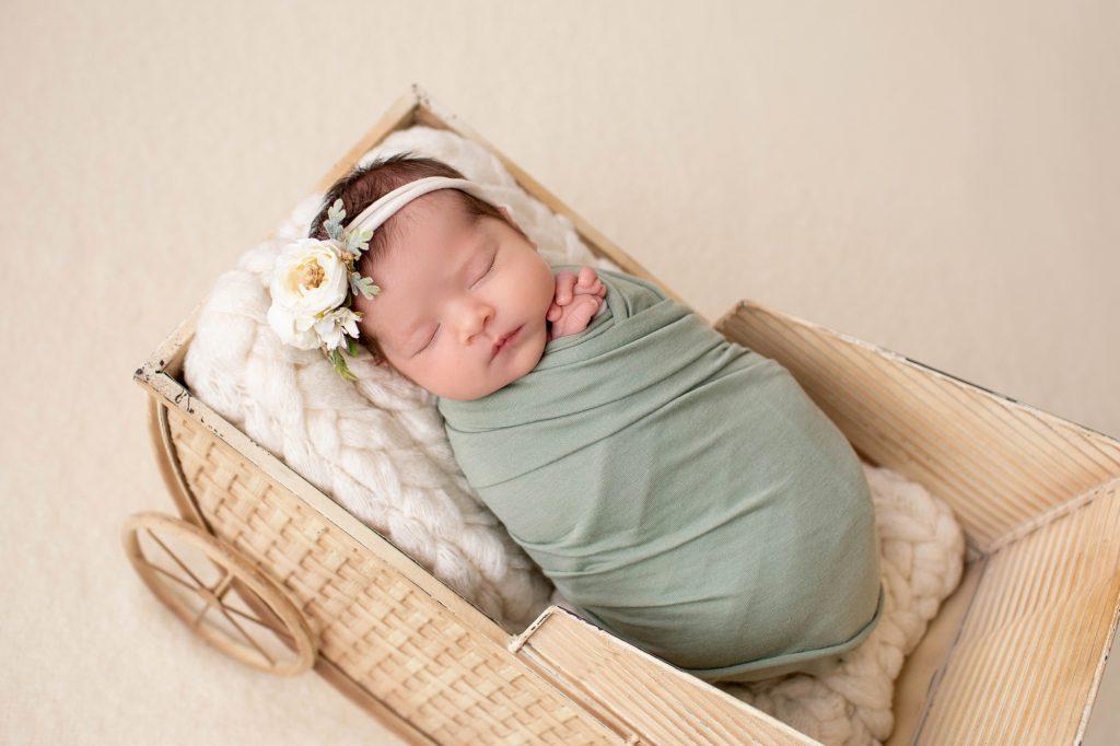 newborn baby green wrap